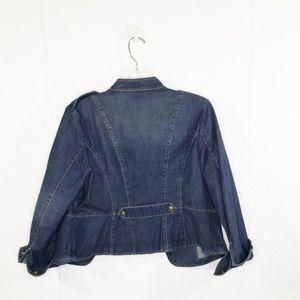 Chico's Jackets & Coats - Chico's Petite Braid-Detail Denim Military Jacket